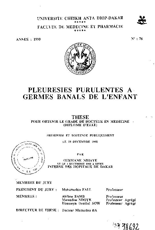 resultats 1 - 11 pour la recherche: Pleuresies purulentes